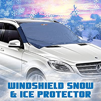 Windshield Snow Cover - Auto Ice Wiper Protector - Non Scratch Magnetic - Sturdy - Heavy Duty Material - 50 x 62 Inches - Keep your Vehicle Exterior Clean and Freeze Free - Car-Van - SUV