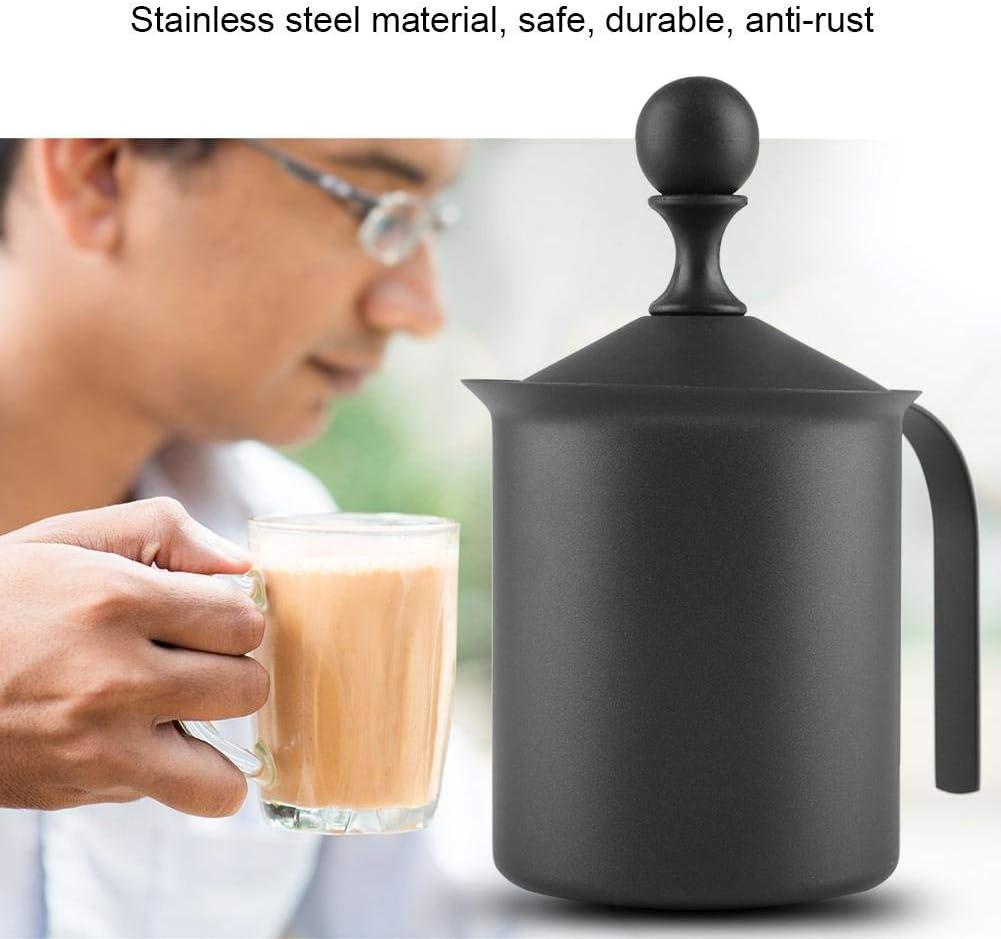 400ml Haofy Espumador de Leche Manual de Acero Inoxidable para Espuma de Leche Capuchino o Expreso Macchiato