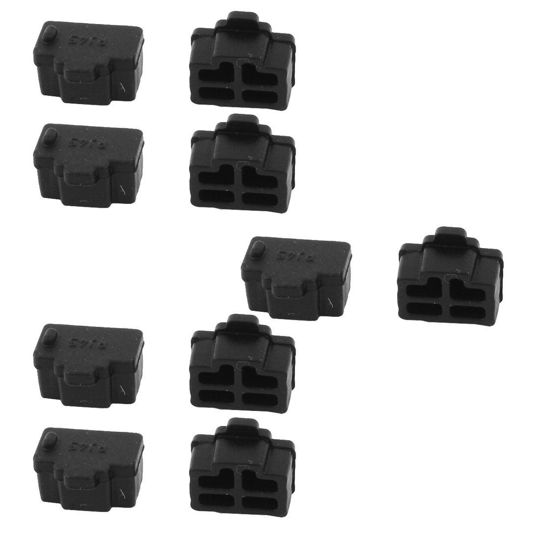 uxcell Ethernet Hub Port RJ45 Cover Cap Protector Connector 10Pcs Black