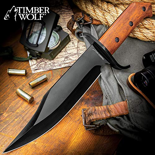 (Timber Wolf ClaimStaker Bowie Knife and Sheath - 3Cr13 Stainless Steel Black Blade, Full-Tang, Wooden Handle - Length 12 1/2