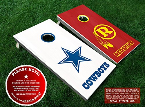 Dallas Cowboys vs Washington Redskins Cornhole Decals | DIY Vinyl Stickers For Bean Bag Toss Lawn Games Cornhole Board Building and Decorating | Decal Sticker Hub -
