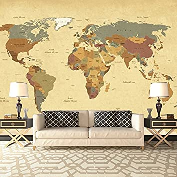 Amazon vintage world map wall mural map photo wallpaper living vintage world map wall mural map photo wallpaper living room bedroom home decor available in 8 gumiabroncs Choice Image