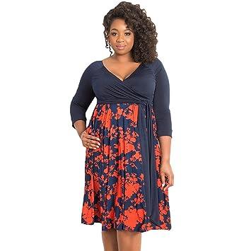 Vestido Largo Mujer Talla Grande V Profunda Falda Moda Floral ...
