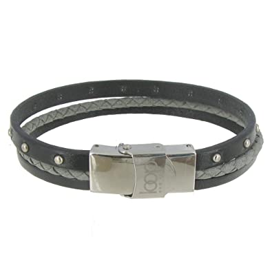 a2ec3ad1b9352 Les Poulettes Jewels - Bracelet Three Strips Leather Stainless Steel ...