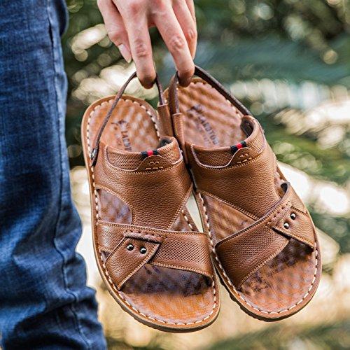 Xing Lin Sandalias De Hombre Verano Hombres Sandalias De Cuero De Los Hombres Zapatos De Hombre Casual Tendencia Transpirable Sandalias De Playa Y Zapatillas De Punta Abierta, 38, Amarillo