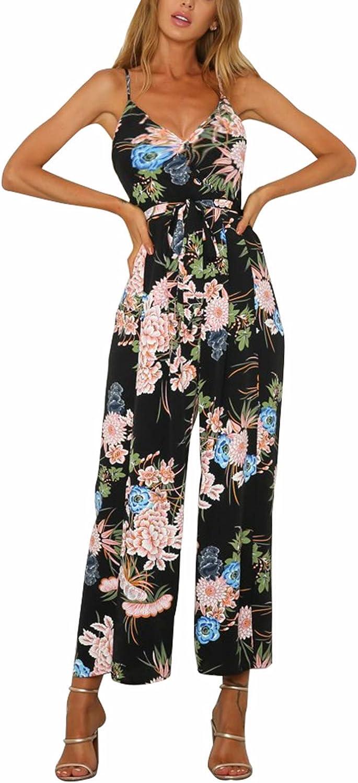 Nimpansa Women Jumpsuits Floral Print Slip Deep V-Neck Belted Slip Daily Romper