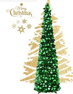 EEX 5ft Collapsible Artificial Christmas Tree, Pop Up Tinsel Coastal Christmas Tall Skinny Tree with Stand, Sequin Pensil Tree for Apartment Home Office Store Holiday Decorations (Green)