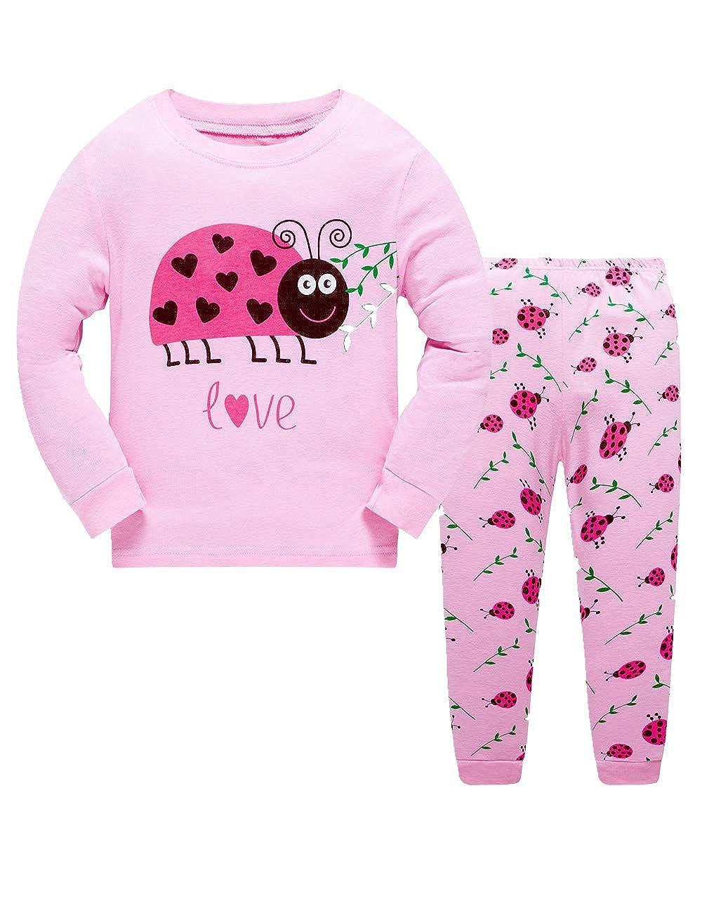 Girls Pajamas Set 100% Cotton Cartoon Long Sleeve Sleepwear Little Kids Winter Pjs Clothes for Children BABSUE BB-Girls