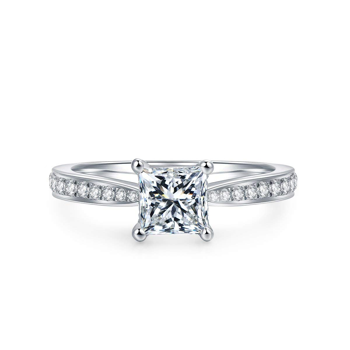 4-Prong Set 1.0 CT Princess brilliant Cut Simulated Diamond CZ Solitaire Engagement Wedding Ring Rhodium Plated Sterling Silver , 2.16 CTW (6)