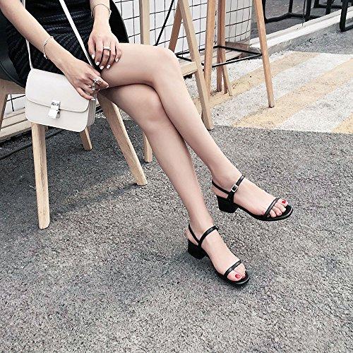 dimensioni Fata Verde punta CAICOLOR Fibbia CN34 con Nero estiva Slipper pantofola con e Colore UK3 semplice EU35 semplice aperta qO65wHXXx