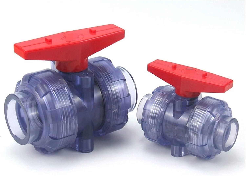 JIAN 1 UNID DIN 20~63mm Válvula de PVC Transparente Conector de tubería de PVC Aquarium Fish Tank Garden Riego Unión Válvula de Bola Exquisite (Specification : I.D63mm(DIN))