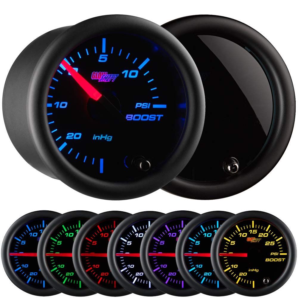 GlowShift Tinted 7 Color 15 PSI Turbo Boost/Vacuum Gauge Kit - Includes Mechanical Hose & T-Fitting - Black Dial - Smoked Lens - for Cars - 2-1/16'' 52mm by GlowShift