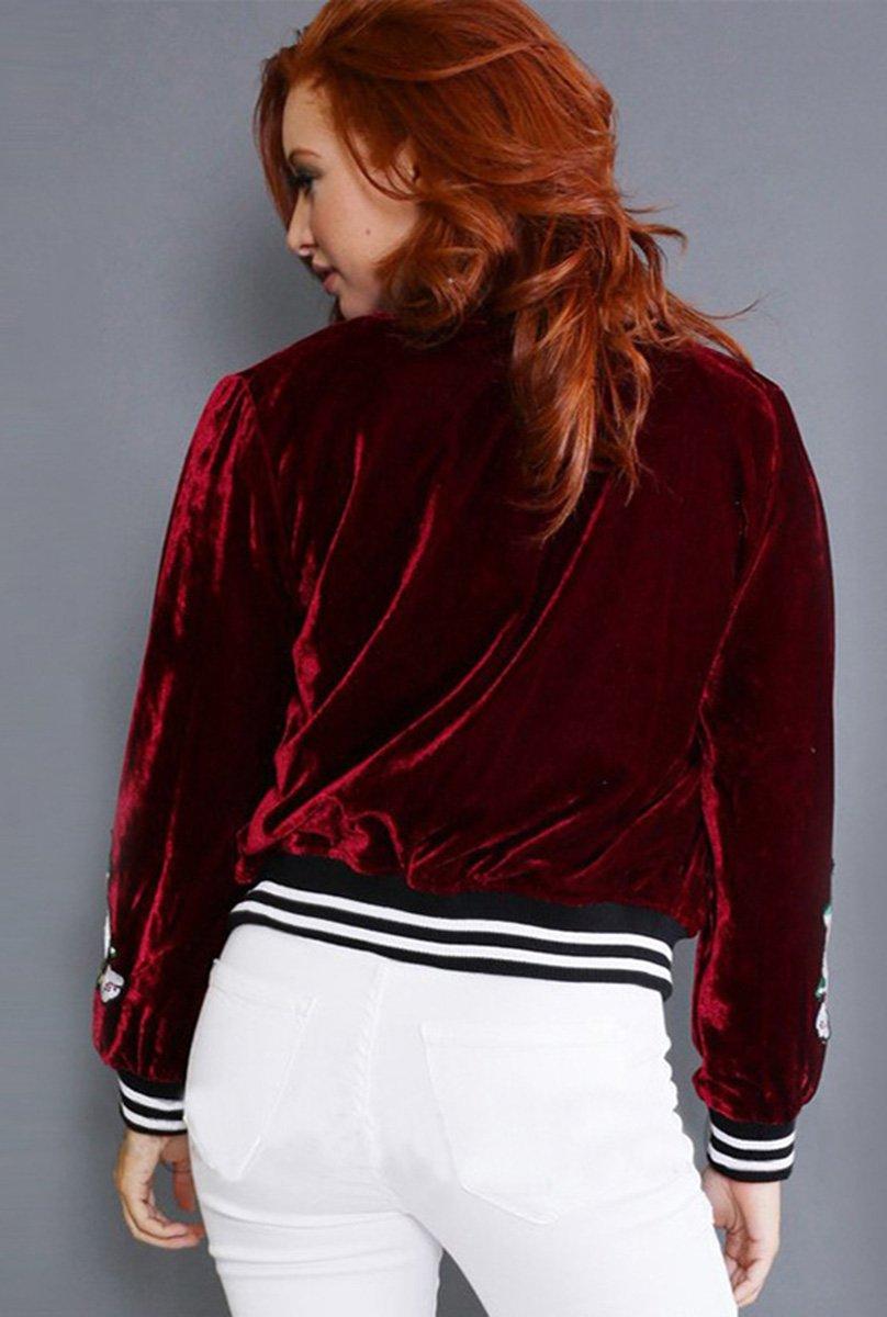Farktop Women's Embroidery Patch Velvet Classic Biker Quilted Bomber Flight Jacket,Jacket-red,Large by Farktop (Image #4)