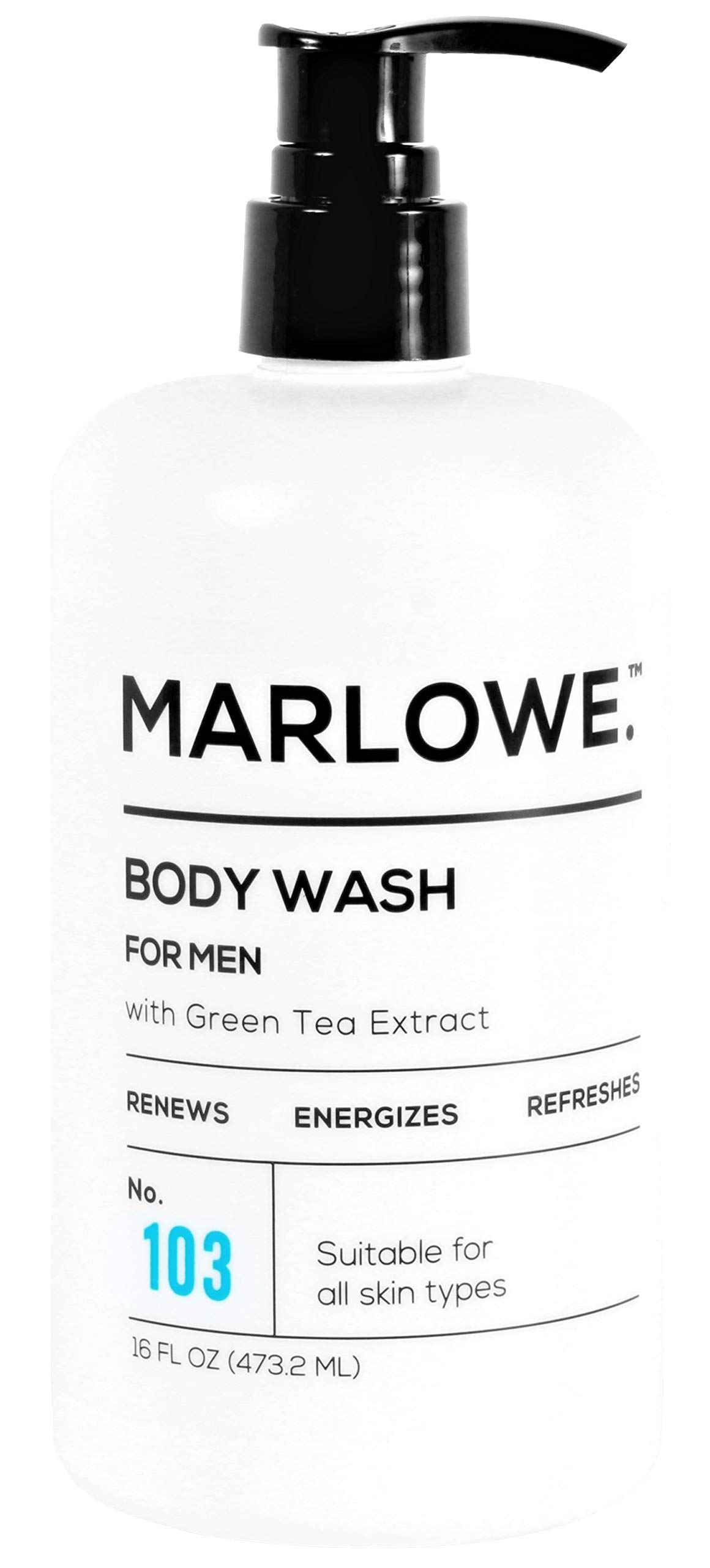 MARLOWE. No. 103 Men's Body Wash 16 oz   Energizing & Refreshing   Made with Natural Ingredients   Aloe & Green Tea Extracts by MARLOWE. M BLEND