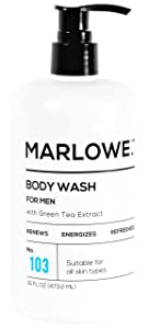 MARLOWE. No. 103 Men's Body Wash 16 oz | Energizing & Refreshing | Made with Natural Ingredients | Aloe & Green Tea Extracts