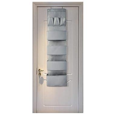 Aibrisk Over The Door Organizer Over The Door Wall Mount Hanging Organizer Oxford Cloth, Gray