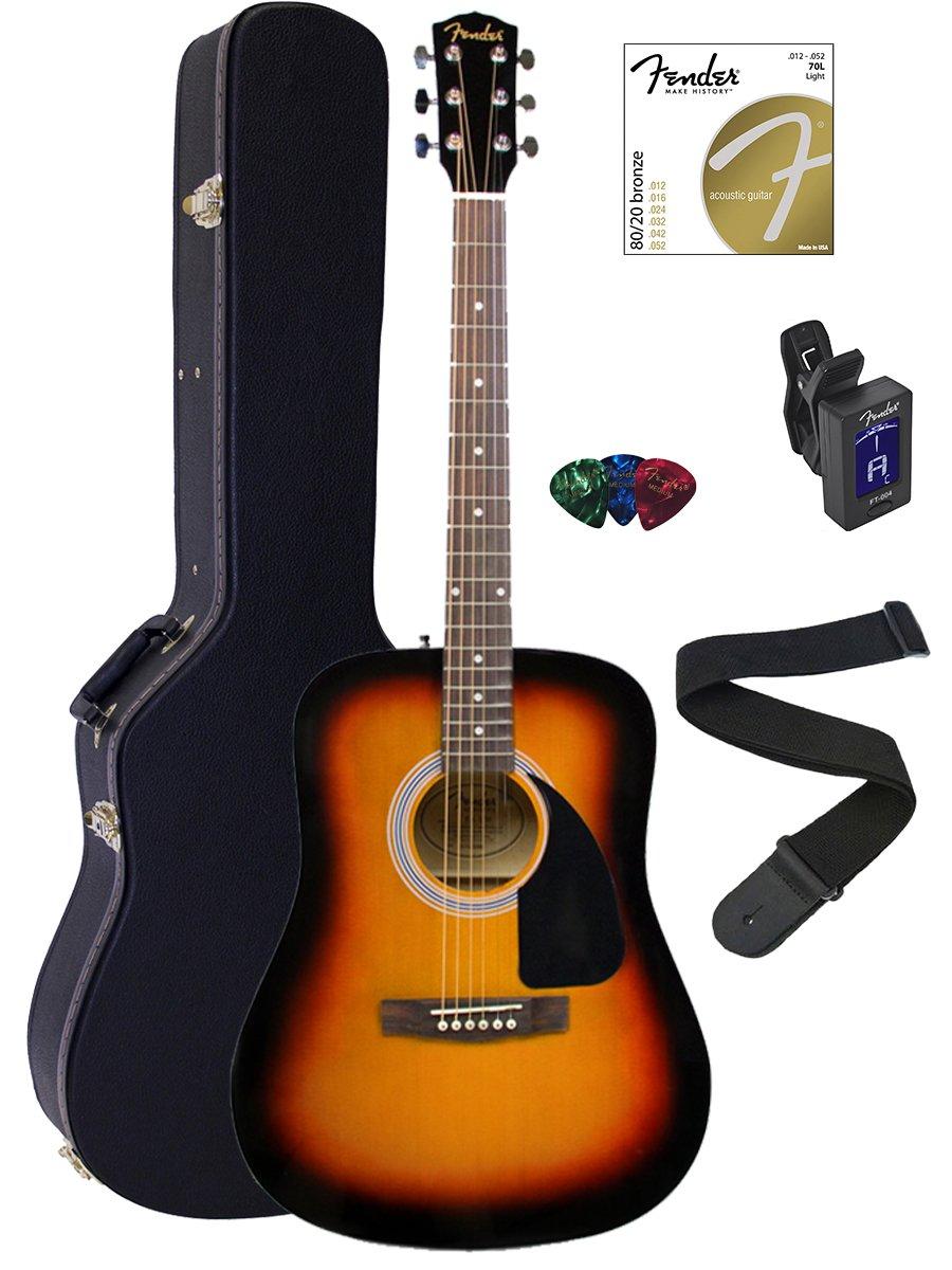 Fender FA-100 Dreadnought Acoustic Guitar - Sunburst Bundle with Hard Case, Tuner, Strings, Strap, and Picks