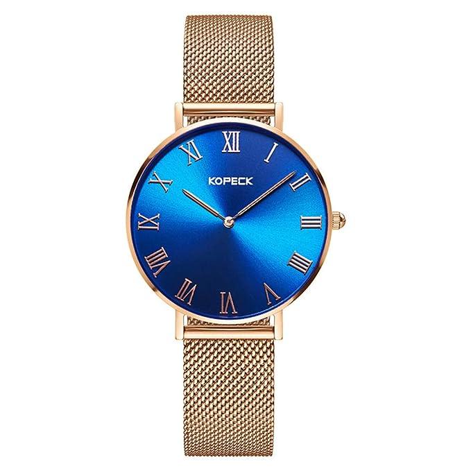 Relojes Para Mujeres Reloj De Cuarzo Simple Y Ultra Delgado Para Mujer Esfera Azul SoñAdor A Prueba De Agua Regalos De Vacaciones, Gold-OneSize: Amazon.es: ...