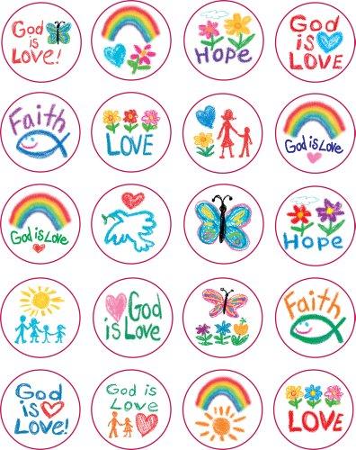 Carson Dellosa 5239 Kid-Drawn Christian Faith Shape Stickers, 120 stickers