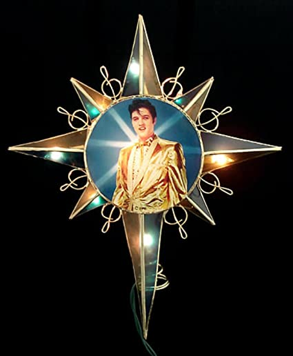 """Kurt Adler 12"""" Lighted Elvis Presley Amber & Blue Star Christmas Tree  Topper - Amazon.com: Kurt Adler 12"""