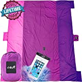 Chillax Sand Free Beach Blanket - Huge 9' x 10' for 7 Adults - Best Mat for Picnic, Camping, Hiking and Music Festivals (Pink)