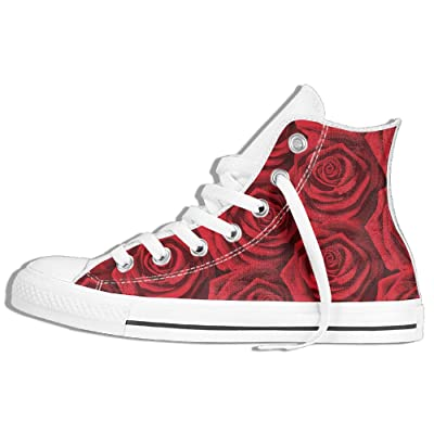 Roses Women Men Lace Up High Top Canvas Sneakers Shoes Unisex