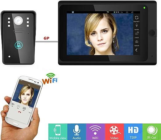 Videoportero Intercomunicador Door Timbre del tel/éfono 7 pulgadas de color LCD Touch Button Video Interfon EU Sistema de entrada de intercomunicaci/ón Home Smart Kit de timbre con visi/ón nocturna