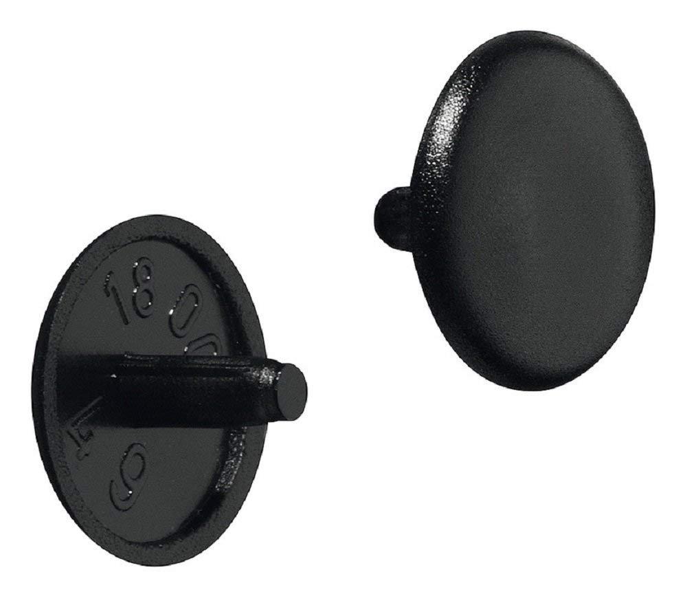 gedotec Muebles de cierre de plástico - Tapas de Tapón Negro RAL 9005 Tornillos de tapa redonda | Modelo nº h1115 | Diámetro 12 x 2,5 mm | Tornillos de ...