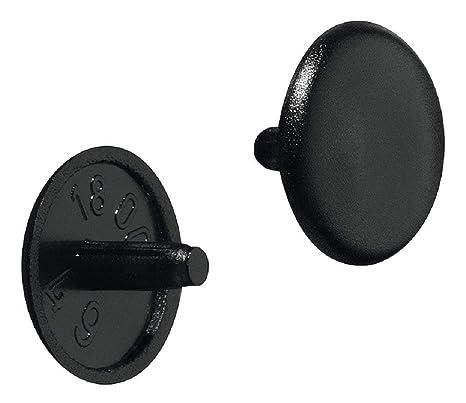 gedotec Muebles de cierre de plástico – Tapas de Tapón Negro RAL 9005 Tornillos de tapa