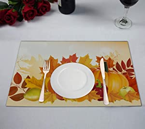 FMSHPON Pumpkin Fruits Autumn Maple Happy Thanksgiving Placemats Table Mats for Restaurant Dining Room Kitchen Table Home Decor 12x18 inch,Set of 4
