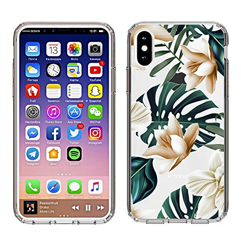 10 Tropical Leaf - iPhone X case, BRILA Tropical Floral Leaves design printed Shock Absorption Reinforced TPU Frame Hard PC back protective case for iPhone X/10