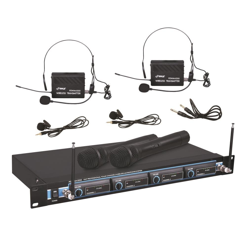 Pyle-Pro PDWM4300 4 Mic VHF Wireless Rack Mount Microphone System Sound Around