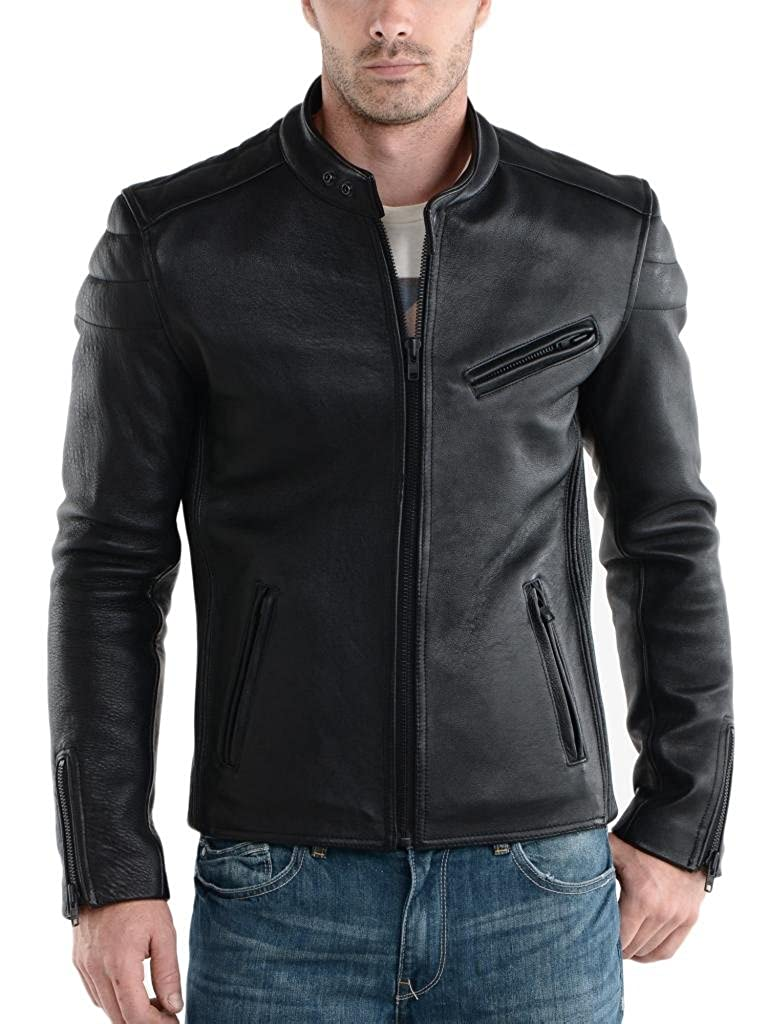 ABDys Mens Lambskin Leather jacket DKL748 Black at Amazon Mens Clothing store: