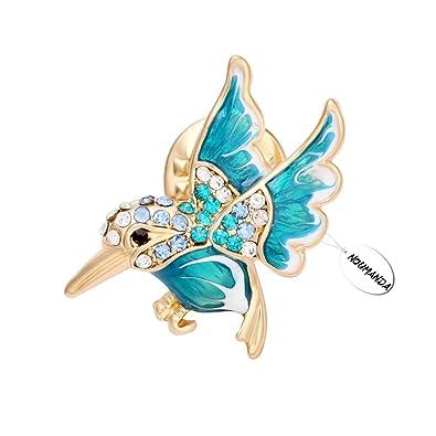 NOUMANDA Fashion Crystal Hummingbird Collar Pin ,Female Jewelry Shirt Collar Brooch Pin