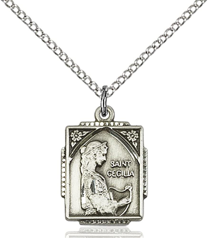 Bonyak Jewelry 18 inch Sterling Silver Curb Chain 1 X 3//4 inches with 18 inch Sterling Silver Curb Chain