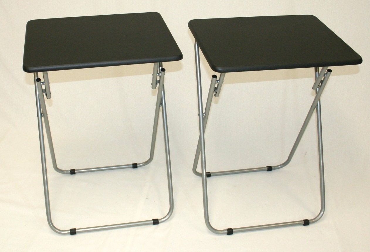 eHemco Set of 2 Folding Tv Trays Tv Tables - Black Tops Chicago Stool & Chair Inc. CS2308