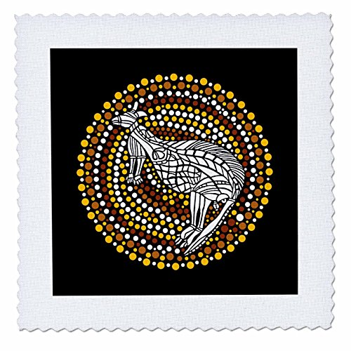 3dRose Australian Aboriginal Dreamtime Kangaroo In White and Earth Tones - Quilt Square, 6 by 6-Inch (qs_219080_2)