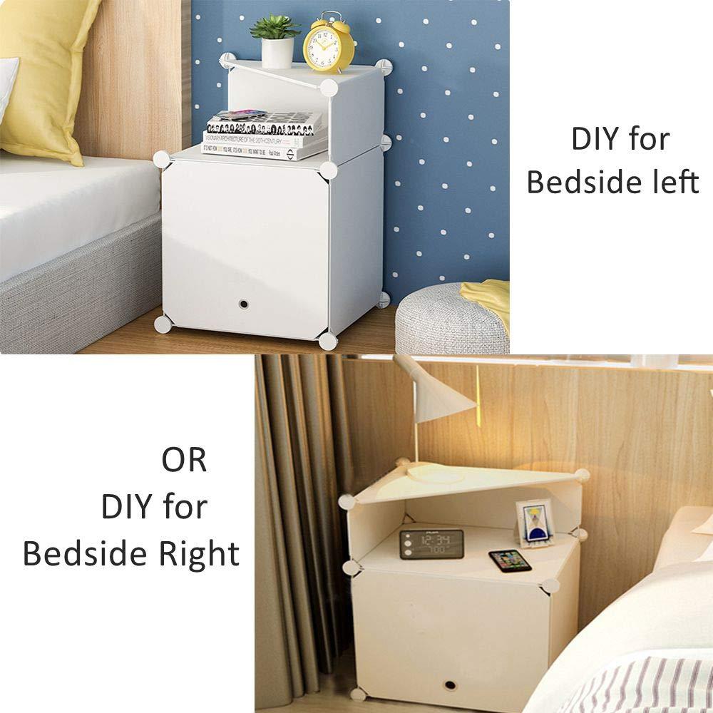 Portable Bedside Nightstand Cabinet Table Storage Unit Organizer, Cubes DIY Storage Bookcase Shelf Baskets Modular Boxes Interlocking Plastic Modular Closet with Door for Bedrooms White TEREU