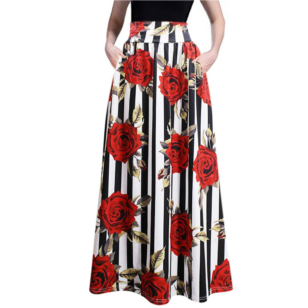 RARITY-US Women's Beach Maxi Skirt African Floral Glamorous Pleated High Waist Casual Boho Two Kinds of Styles Choice
