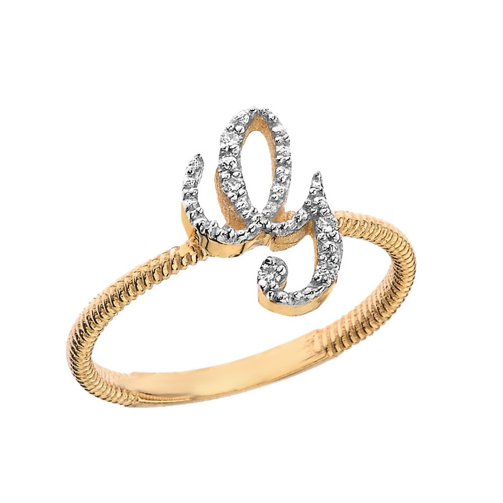 Women's 14k Yellow Gold Diamond Script Initial Letter G Stackable Rope Design Ring (Size 7) by Modern Contemporary Rings