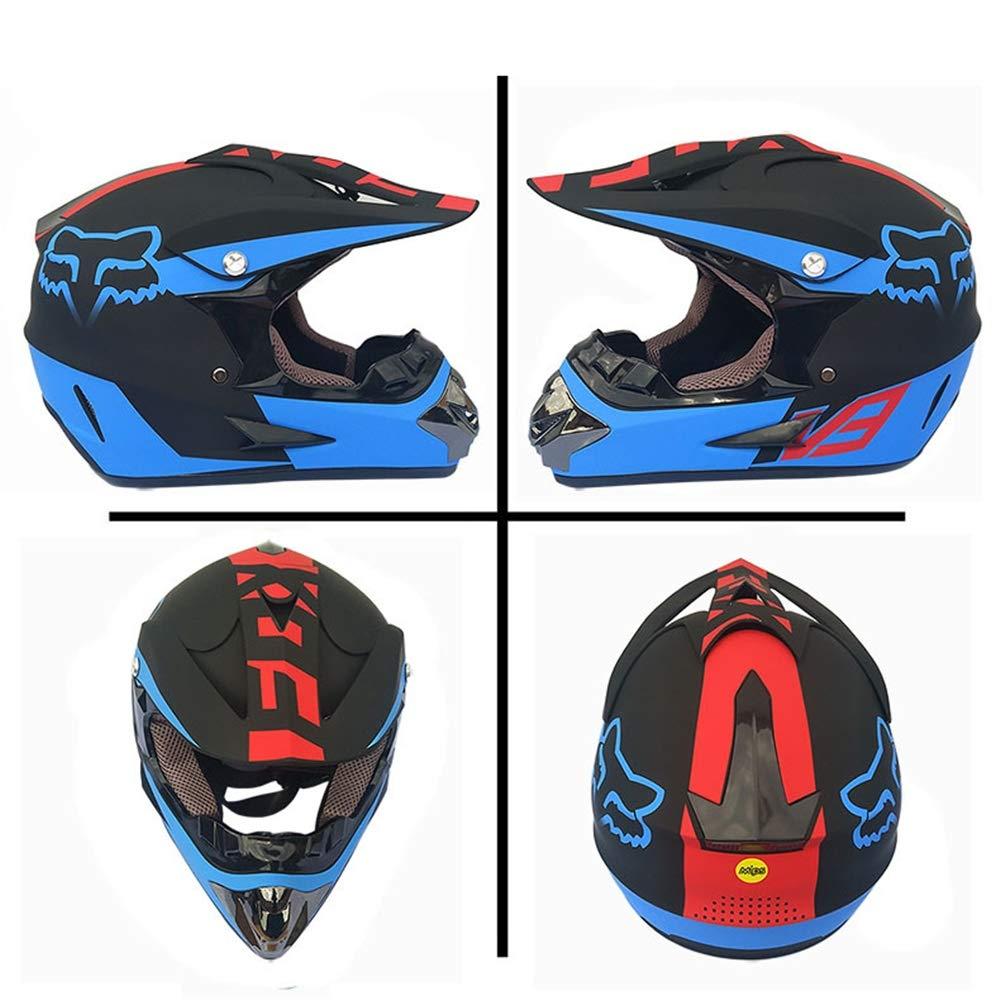 Kids Full Face Bike Helmet Motorcycle Crash MTB Helmets ATV for Youth Men Women Child Matte black and Blue Goggles//Gloves//Mask, 4Pcs MRDEAR Adult Off Road Motocross Helmet Set