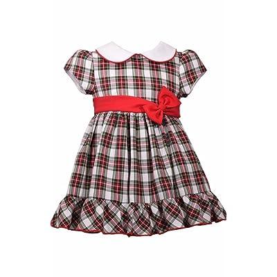 bonnie jean red plaid christmas dress peter pan collar baby girls - Girls Plaid Christmas Dress