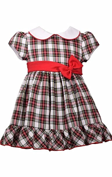 bonnie jean red plaid christmas dress peter pan collar baby girls 18 month