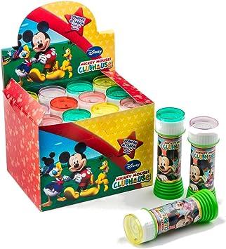 SUPERBOOM - Caja Pomperos de Burbujas de Jabón de Mickey Mouse - 12 Unidades de 60 ml: Amazon.es: Juguetes y juegos