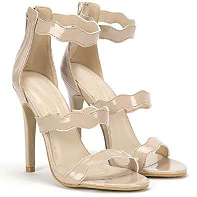 378d554c790d Shoe Closet Nude Patent Curved Barely There Strappy Sandals Stilettos Peep  Toes High Heels Shoes UK7