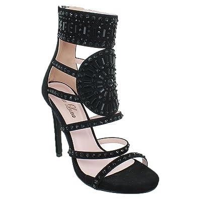 85f8016cabd1 Urban Heels Women s Open Toe Stiletto High Heel Strap Rhinestone  Embellished (7
