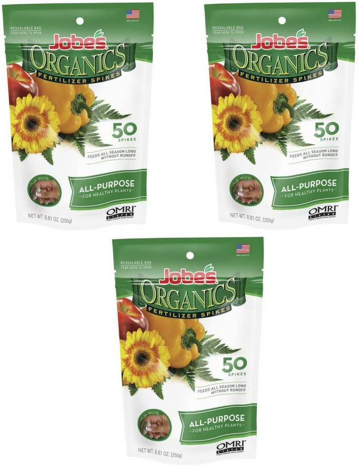 Jobe's Organics All Purpose Fertilizer Spikes, 4-4-4 Organic Time Release Fertilizer for All Plants, 50 Spikes per Package - (3 Pack)