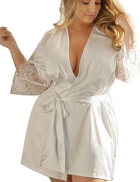 Modfine Pijama Kimono Mujer Picardías Sexy Vestido para Dormir Bata De Satén: Amazon.es: Ropa y accesorios