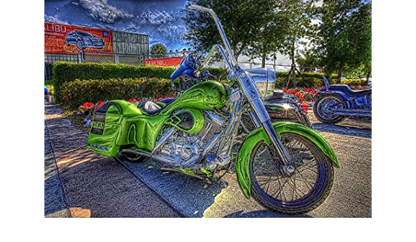 Canvas Picture Print Wall Tattoo Art Stretcher Frame Motorcycle Chopper Harley