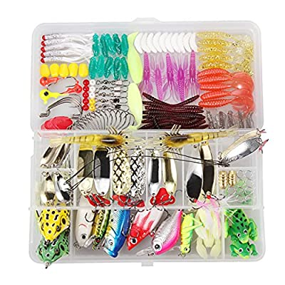 TOCGAMT Fishing Lures Set 150 Pcs Including Frog Lures Soft Plastic Lures Crank Spinner Baits Bass (150 Pcs Set)